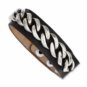Chisel Stainless Steel Chain Bracelet with Black Leather