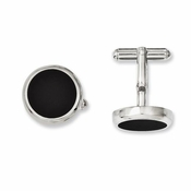 Chisel Stainless Steel Circle Cufflinks with Black IP