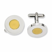 Chisel Stainless Steel Circle Cufflinks with Yellow IP
