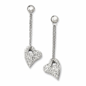 Chisel Stainless Steel Clear Crystal Heart Earrings with Post Dangle