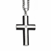Chisel Stainless Steel Cross Pendant with Black IP Borders and CZ