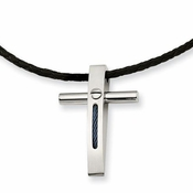 Chisel Stainless Steel Cross Pendant with Blue IP Rope Accent
