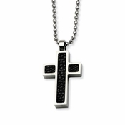 Chisel Stainless Steel Cross Pendant with Stingray Inlay