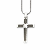 Chisel Stainless Steel Cross Pendant with Wire Design