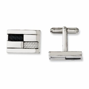 Chisel Stainless Steel Cufflinks with Black and Gray Carbon Fiber
