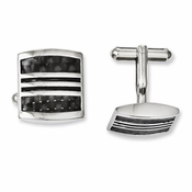 Chisel Stainless Steel Cufflinks with Black Carbon Fiber and Enamel