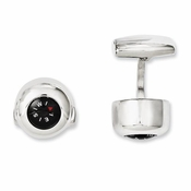 Chisel Stainless Steel Cufflinks with Functional Compass