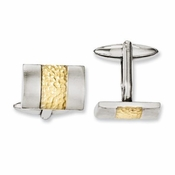 Chisel  Stainless Steel Cufflinks with Textured Yellow IP