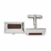 Chisel Stainless Steel Cufflinks with Wood Inlay