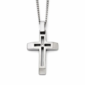 Chisel Stainless Steel Cut Out Cross Pendant with Cubic Zirconia