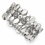Chisel Stainless Steel CZ (Cubic Zirconia) Antiqued Stretch Bracelet
