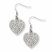 Chisel Stainless Steel CZ (Cubic Zirconia) Heart Dangle Earrings