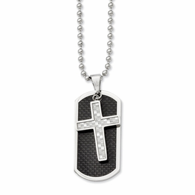 Chisel Stainless Steel Dog Tag and Pendant with Gray and Black Carbon Fiber