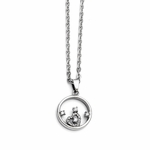 Chisel Stainless Steel Encircled Heart Pendant with Cubic Zirconia