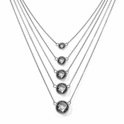 "Chisel Stainless Steel Glass Polished Necklace with 2"" Extender"