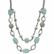 "Chisel Stainless Steel Green Agate and Howlite Blue Quartz 28"" Multi Strand Necklace with 2"" Extender"