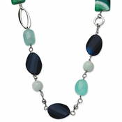 "Chisel Stainless Steel Green and Black Agate 26"" Necklace with 1.5"" Extender"