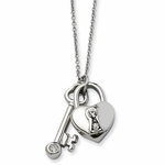 Chisel Stainless Steel Heart Lock and Key Pendant with Cubic Zirconia