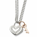 Chisel Stainless Steel Heart Pendant with Cubic Zirconia and Rose IP Key