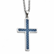 Chisel Stainless Steel Large Cross Pendant with Blue Carbon Fiber
