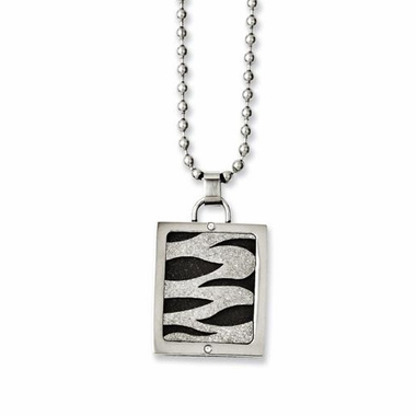 Chisel Stainless Steel Laser Cut Pendant with Black IP