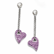 Chisel Stainless Steel Light Purple Crystal Heart Earrings with Post Dangle