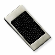 Chisel Stainless Steel Money Clip with Black Stingray Inlay
