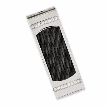 Chisel Stainless Steel Money Clip with Wire and Cubic Zirconia