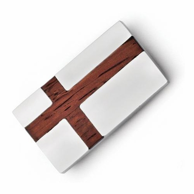 Chisel Stainless Steel Money Clip with Wood Inlay