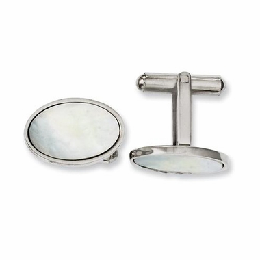 Chisel Stainless Steel Mother of Pearl Cufflinks