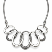 "Chisel Stainless Steel Oval Antiqued Necklace with 3.5"" Extender"