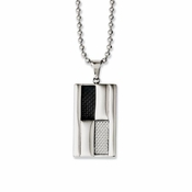 Chisel Stainless Steel Pendant with Black and Gray Carbon Fiber