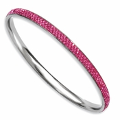 Chisel Stainless Steel Pink Crystal Rounded Bangle