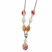 "Chisel Stainless Steel Pink Quartz and Agate 24"" Necklace with 1"" Extender"