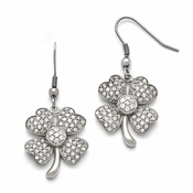 Chisel Stainless Steel Polished 4-Leaf Clover CZ (Cubic Zirconia) Earrings with Shepherd Hook