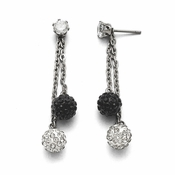 Chisel Stainless Steel Polished Black and White Crystal Earrings with Post Dangle