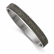 Chisel Stainless Steel Polished Black Enamel Thin Flat Bangle with Crystals