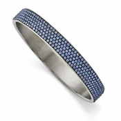 Chisel Stainless Steel Polished Blue Enamel Thin Flat Bangle with Crystals