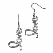 "Chisel Stainless Steel Polished CZ (Cubic Zirconia) ""Love"" Earrings with Shepherd Hook"