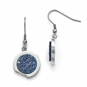 Chisel Stainless Steel Polished Earrings with Blue Druzy Stone
