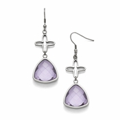 Chisel Stainless Steel Polished Flower Purple Glass Earrings with Shepherd Hook