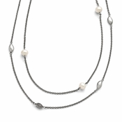 "Chisel Stainless Steel Polished Freshwater Cultured Pearls and CZ (Cubic Zirconia) Necklace with 2"" Extender"
