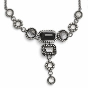 "Chisel Stainless Steel Polished Glass Necklace with 2"" Extender"