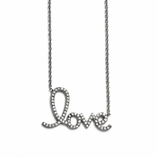 "Chisel Stainless Steel Polished ""Love"" Necklace with CZs"