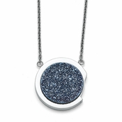 Chisel Stainless Steel Polished Necklace with Blue Druzy Stone