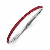 Chisel Stainless Steel Polished Red Crystal Wavy Bangle