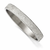 Chisel Stainless Steel Polished White Enamel Thin Flat Bangle with Crystals