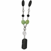 "Chisel Stainless Steel Prehnite, Quartz and Black Agate 26"" Necklace with 1.5"" Extender"