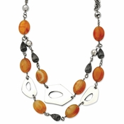 "Chisel Stainless Steel Red and Orange Agate 24"" Necklace with 1.5"" Extender"