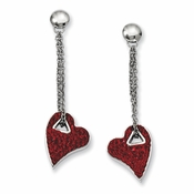 Chisel Stainless Steel Red Crystal Heart Earrings with Post Dangle